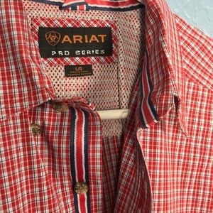 Ariat Shirts - ARIAT Pro Series Men's Button Up Plaid Red/Blue L